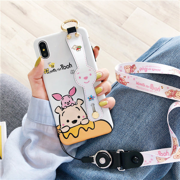 Winnie The Pooh Wristband Phone Case for iphone 6/6s/6plus/7/7plus/8/8P/X/XS/XR/XS Max JK1435