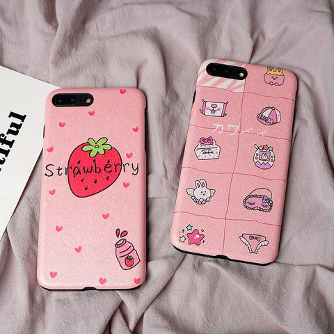 Pink Strawberry Phone Case for iphone 6/6s/6plus/7/7plus/8/8P/X/XS/XR/XS Max JK1277