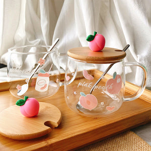 Cute Peach Glass Cup JK2366