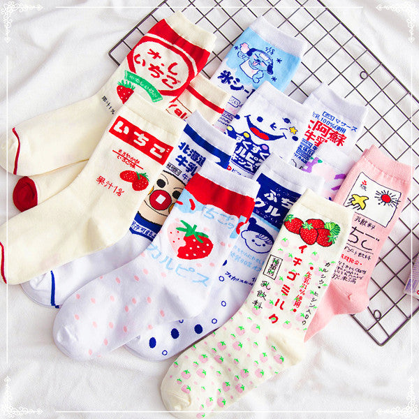 Fashion Strawberry Milk Socks JK1568