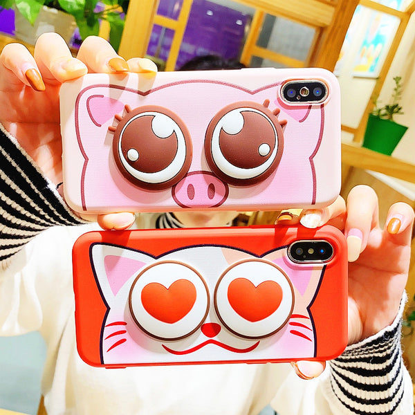 Cat and Pig Phone Case for iphone 6/6s/6plus/7/7plus/8/8P/X/XS/XR/XS Max JK1152