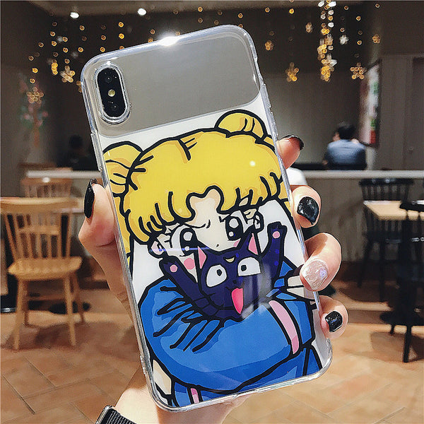 Kawaii Usagi Mirror Phone Case for iphone 6/6s/6plus/7/7plus/8/8P/X/XS/XR/XS Max JK1784