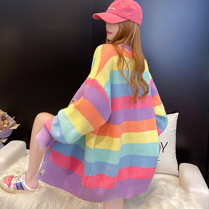 Fashion Rainbow Sweater Coat JK2434