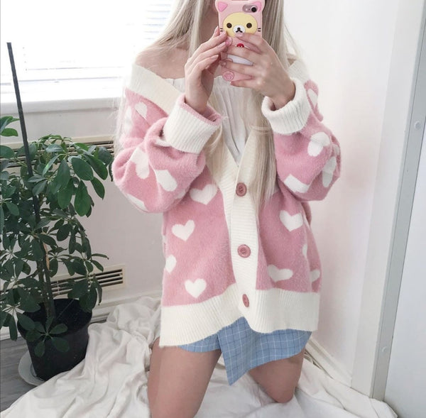 Fashion Hearts Sweater Coat JK1650