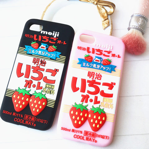 Meiji Strawberry Phone Case for iphone 6/6s/6plus/7/7plus/8/8P/X JK1085