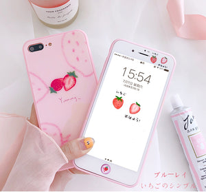 Pink Strawberry Phone Case for iphone 6/6s/6plus/7/7plus/8/8P JK1108