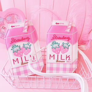 Pink Milk Strawberry Shoulder Bag JK1147