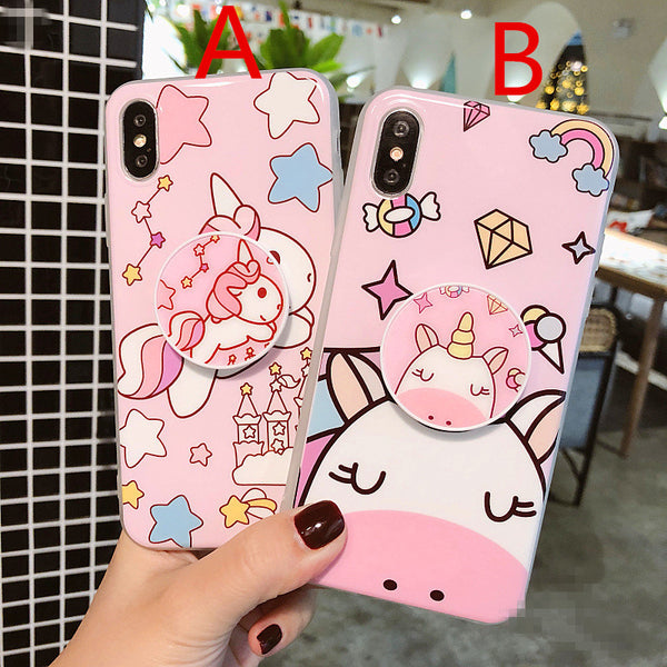 Kawaii Unicorn Phone Case for iphone 6/6s/6plus/7/7plus/8/8P/X/XS JK1001