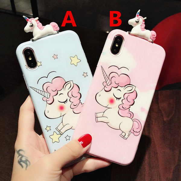 Little Unicorn Phone Case for iphone 6/6s/6plus/7/7plus/8/8P/X/XS/XR/XS Max JK1075