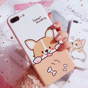 Lovely Corgi Dog Phone Case for iphone 6/6s/6plus/7/7plus/8/8P/X JK1056