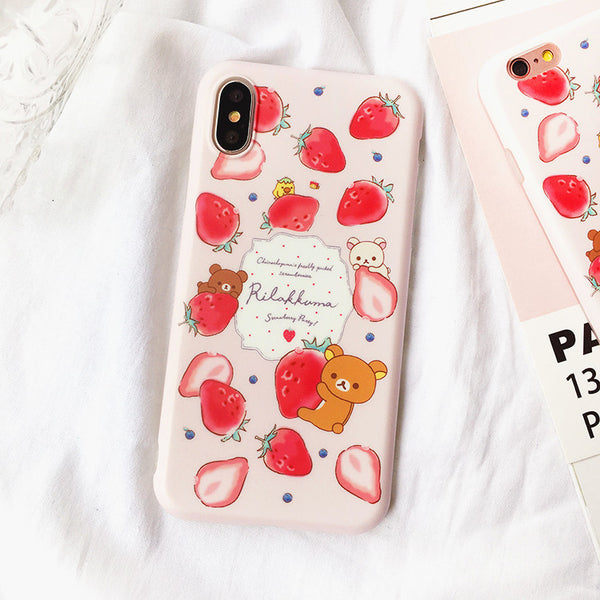 Strawberry Bear Phone Case for iphone 7/7plus/8/8P/X/XS/XR/XS Max JK1065