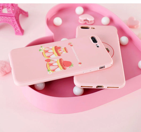 Pink Strawberry Phone Case for iphone 6/6s/6plus/7/7plus/8/8P/X/XS/XR/XS Max JK1330
