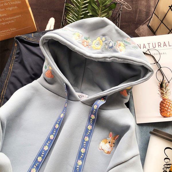 Sweet Rabbit Embroidered Hoodie JK1452