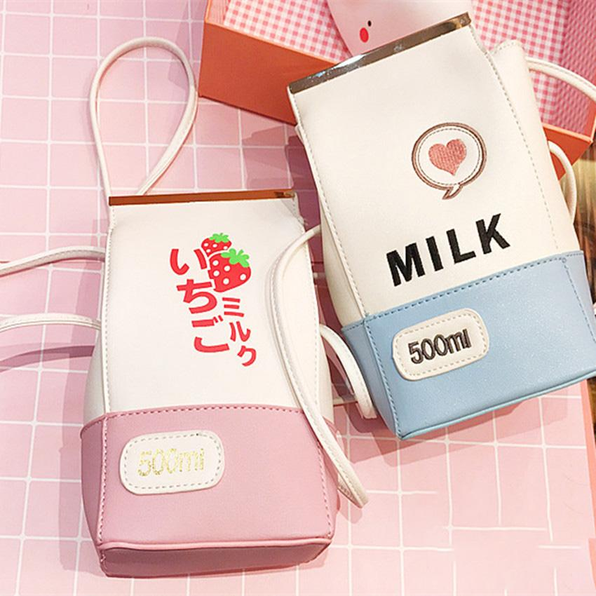 Kawaii Milk Strawberry Shoulder Bag JK1079