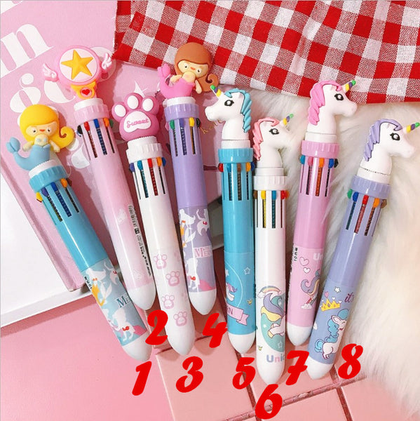 Cute Cartoon Ten Colors Ballpoint Pen JK1032