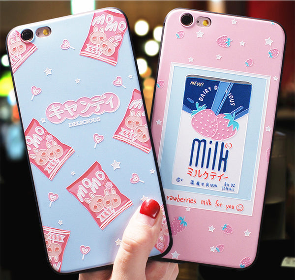 Strawberry Milk Phone Case for iphone 6/6s/6plus/7/7plus/8/8P/X/XS/XR/XS Max JK1126