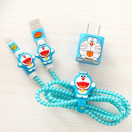 Cartoon Iphone Charger Stickers and Date Wire Protector  JK1055