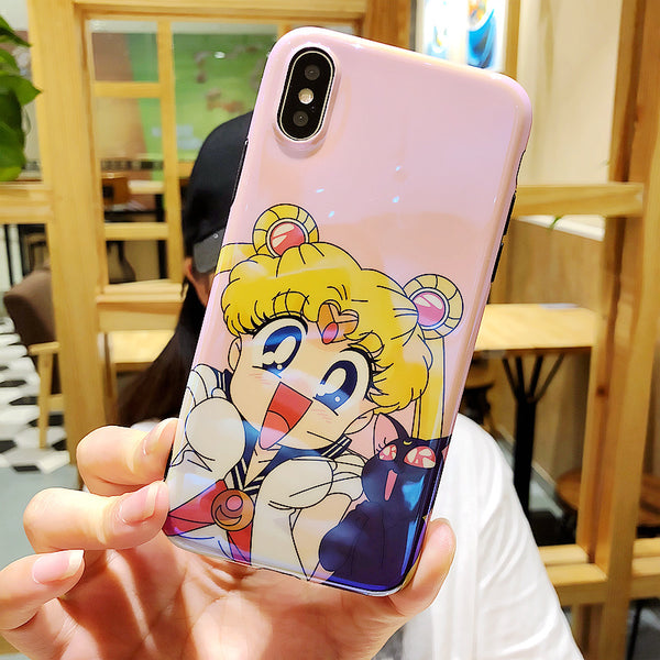 Luna and Usagi Phone Case for iphone 6/6s/6plus/7/7plus/8/8P/X JK1406