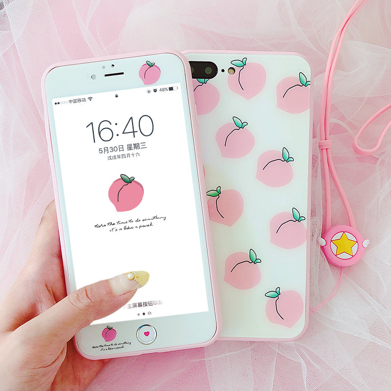 Pink Peaches Phone Case for iphone 6/6s/6plus/7/7plus/8/8P/X JK1100