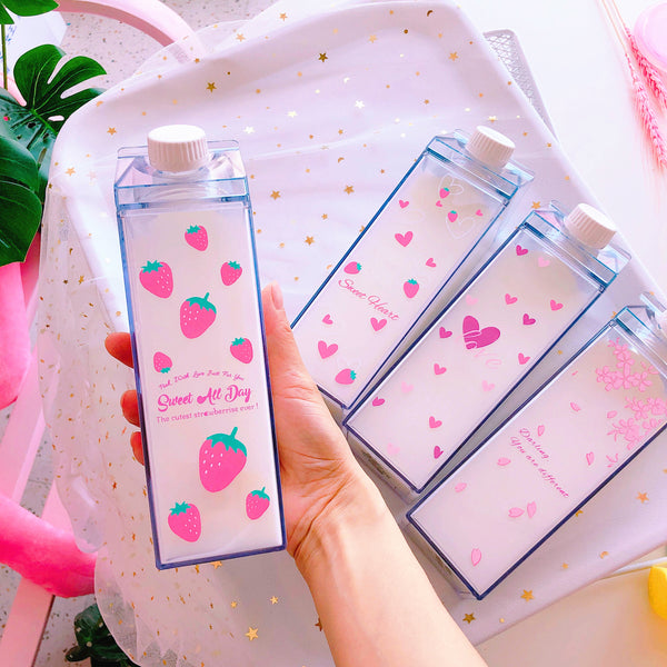 Kawaii Hearts and Strawberry Water Bottle  JK1087