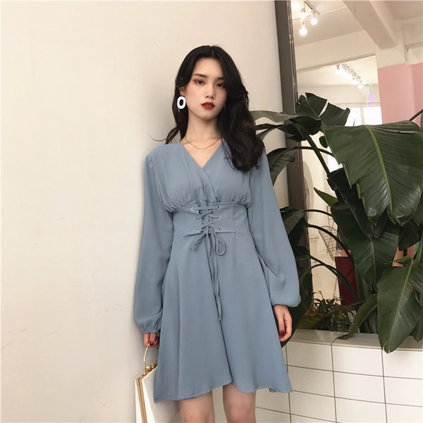 V Collar Chiffon One-piece Dress JK1205