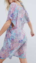 Load image into Gallery viewer, Dorina 🌞 Curves Purple Graphic/ Blue Graphic Kaftan Beach Dress