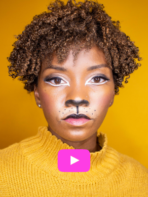 Lioness halloween makeup with Sunset Hair
