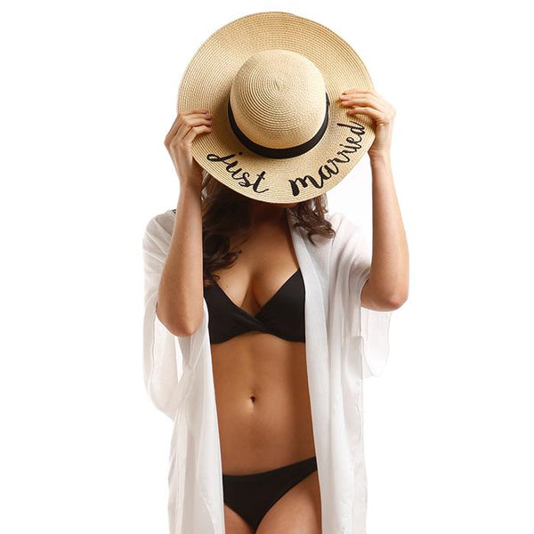 65491a200ab ... Amtal Women Elegant Wide Brim Embroidered Beach Pool Floppy Summer  Vacation Sun Hat (Just Married