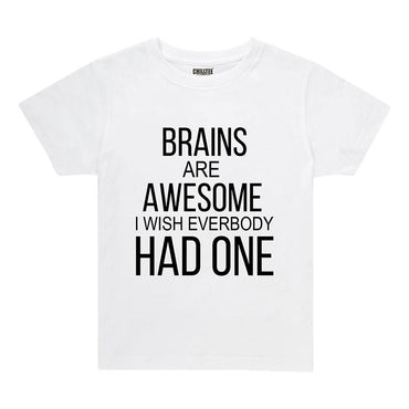 Brains are Awesome - Kids T-shirt (White) - ChillTee