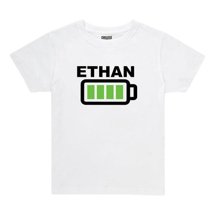 Battery Full - Kids T-Shirt (White) - ChillTee