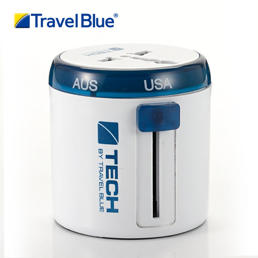 TRAVEL BLUE TWIST & SLIDE WORLD TRAVEL ADAPTOR WORLD WHITE