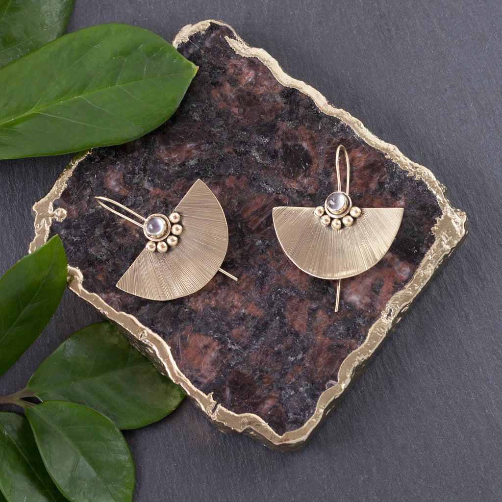 Moonstone Shield Earrings