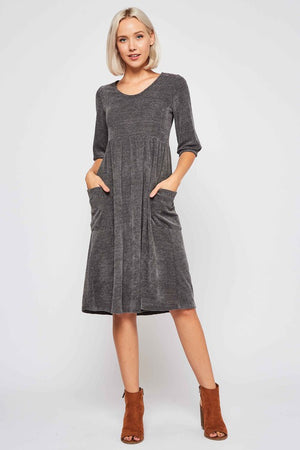 Charcoal Babydoll Sweater Dress