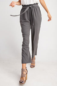Clay Straight Leg Paperbag Trousers