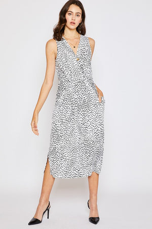 White Abstract Geo Pocket Dress