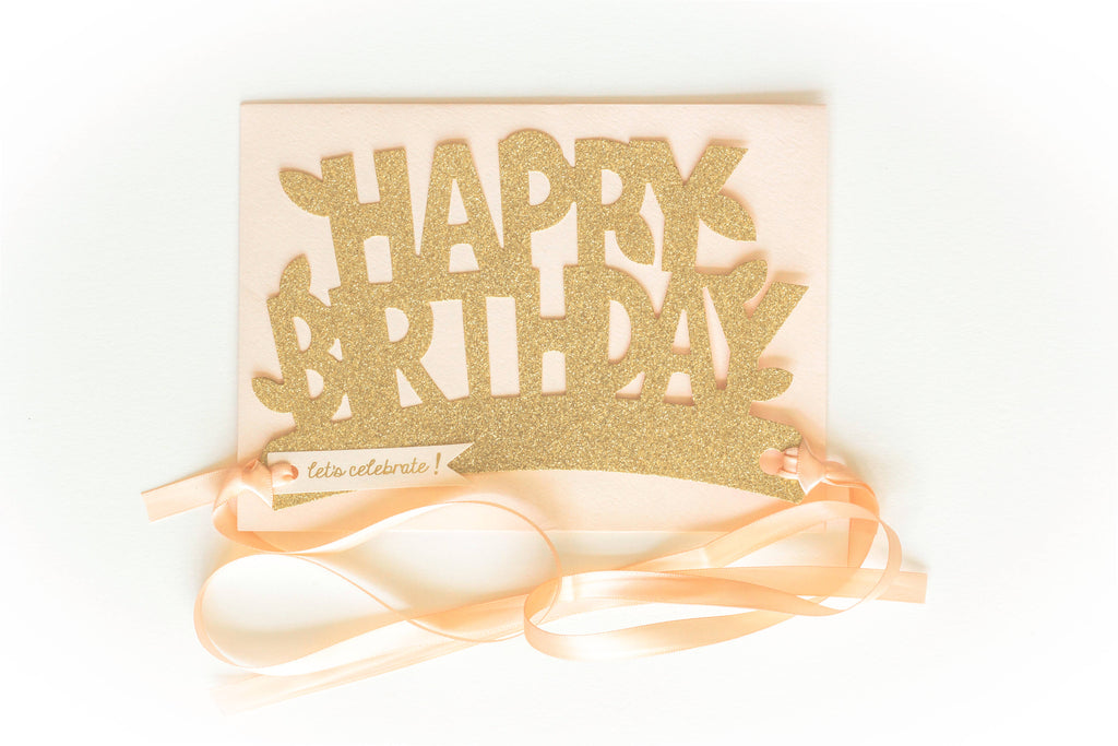 Happy Birthday Glitter Crown in Gold/Blush