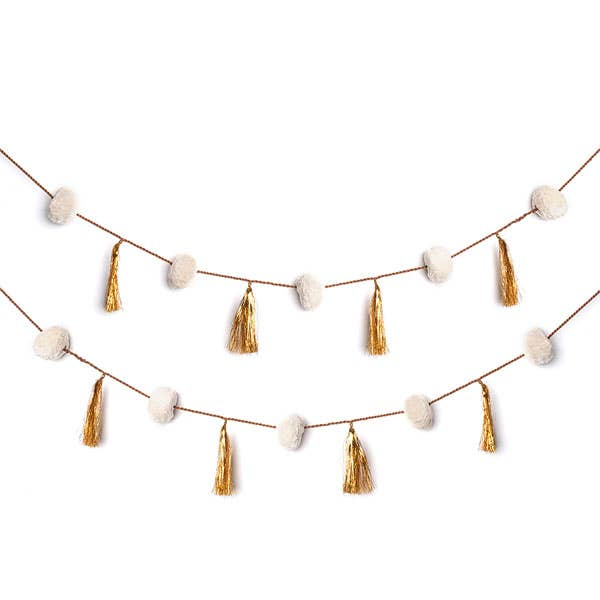 Fair Trade Holiday Tassel Garland - White