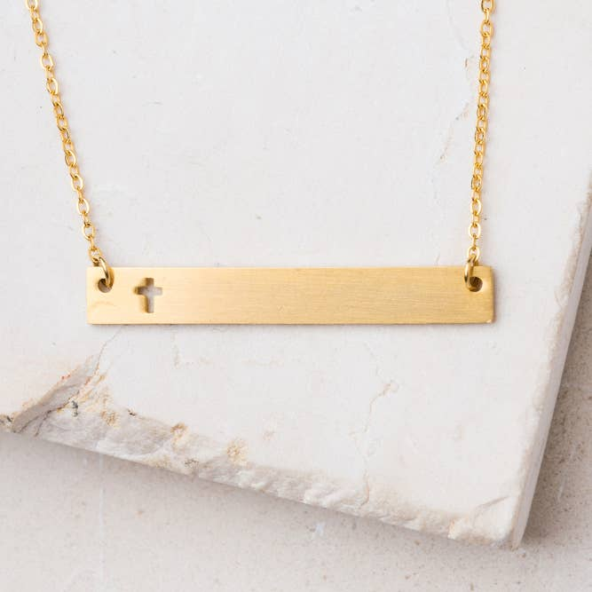 Layla Gold Cross Bar Necklace