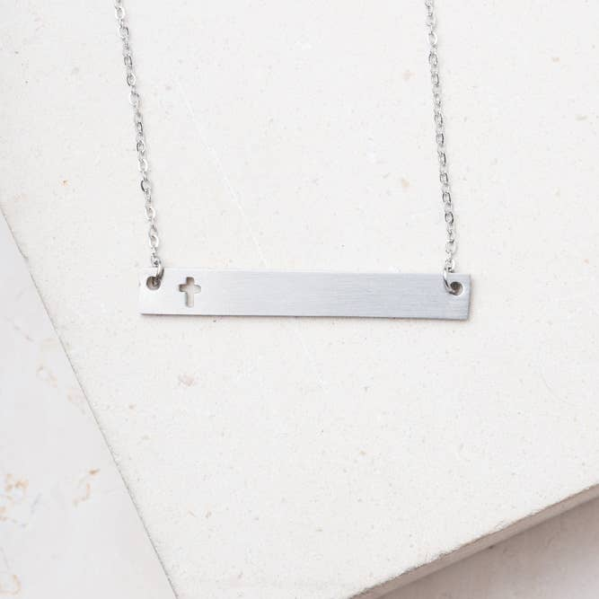 Layla Silver Cross Bar Necklace