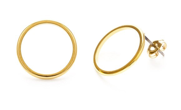 Perfect 24K Plated Circle Studs