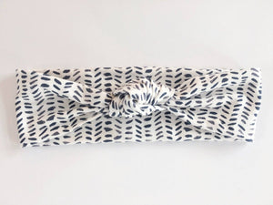 White Dash Knot Headband