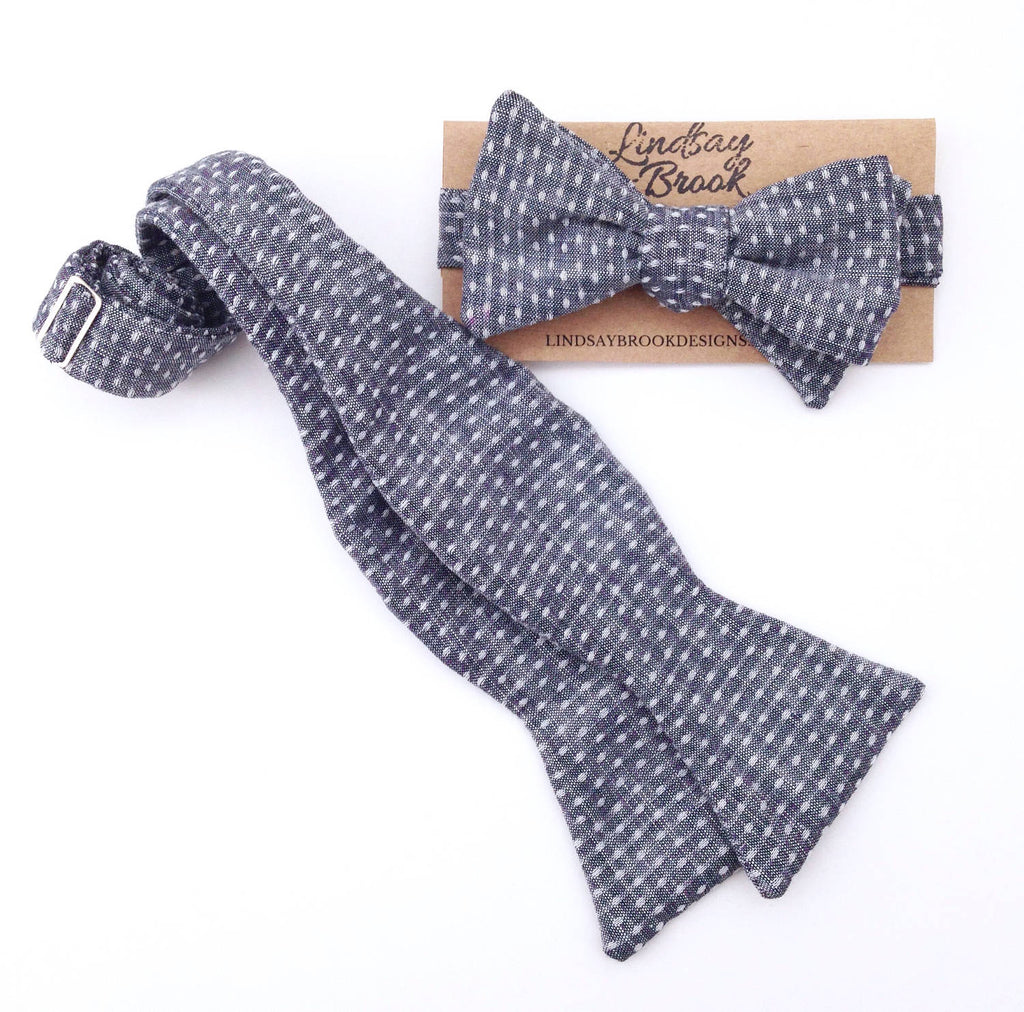 Indigo Chambray Dot Bow Tie