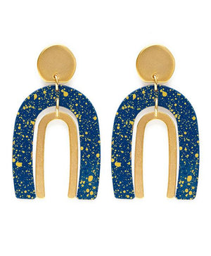 Navy Speckle Rainbow Earrings