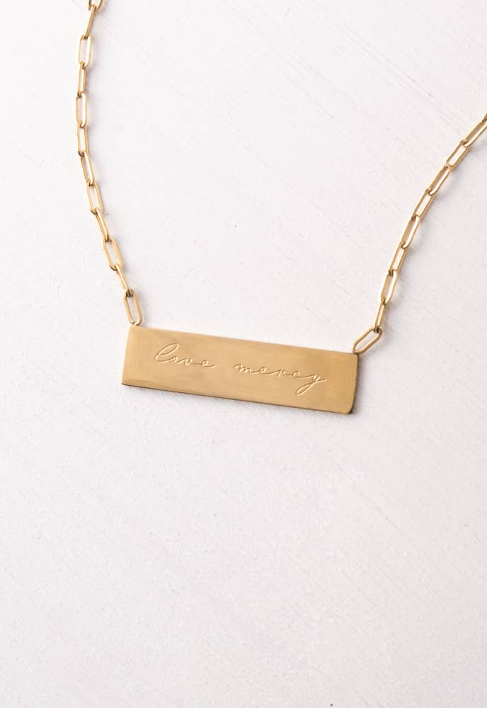 Give Mercy Gold Bar Necklace