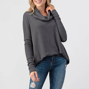 Ribbed Grey Slouch Top