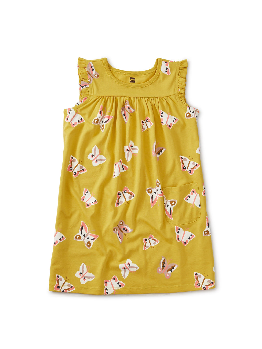 Cotton Jersey Mustard Butterly Dress (2-12Y)