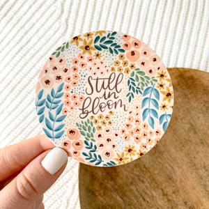 Still in Bloom Floral Circle Sticker, 3x3in.