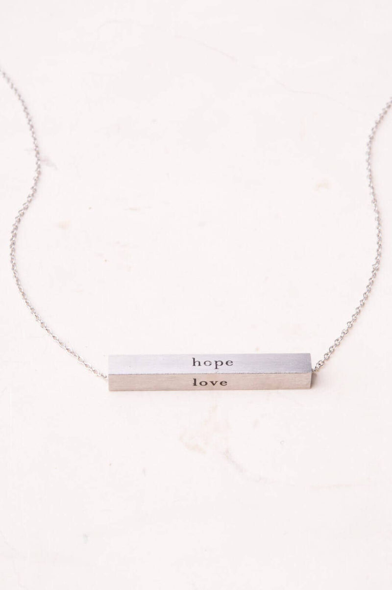 Faith, Hope, Love Silver Bar Necklace