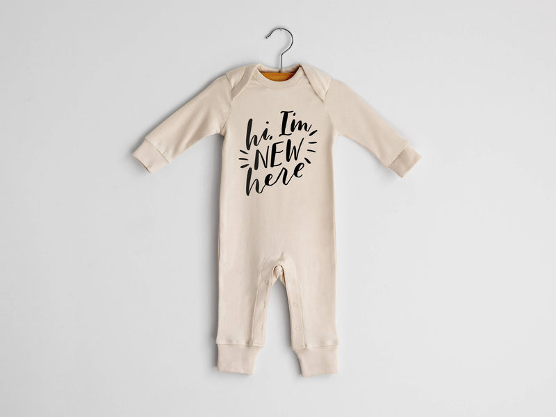 New Here Organic Baby Romper in Natural 0-3 Months