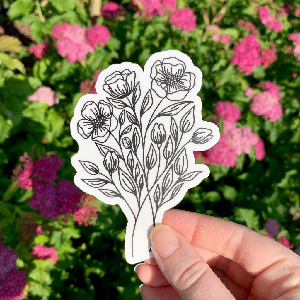Wildflower Bouquet Outline Sticker